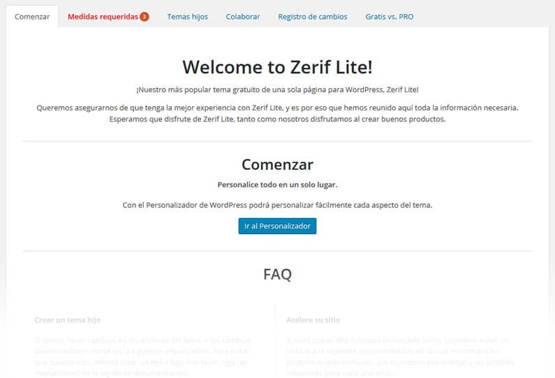 Tutorial de Zerif Lite - Página de bienvenida