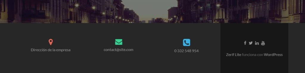 Pie de página de Zerif Lite con iconos personalizados
