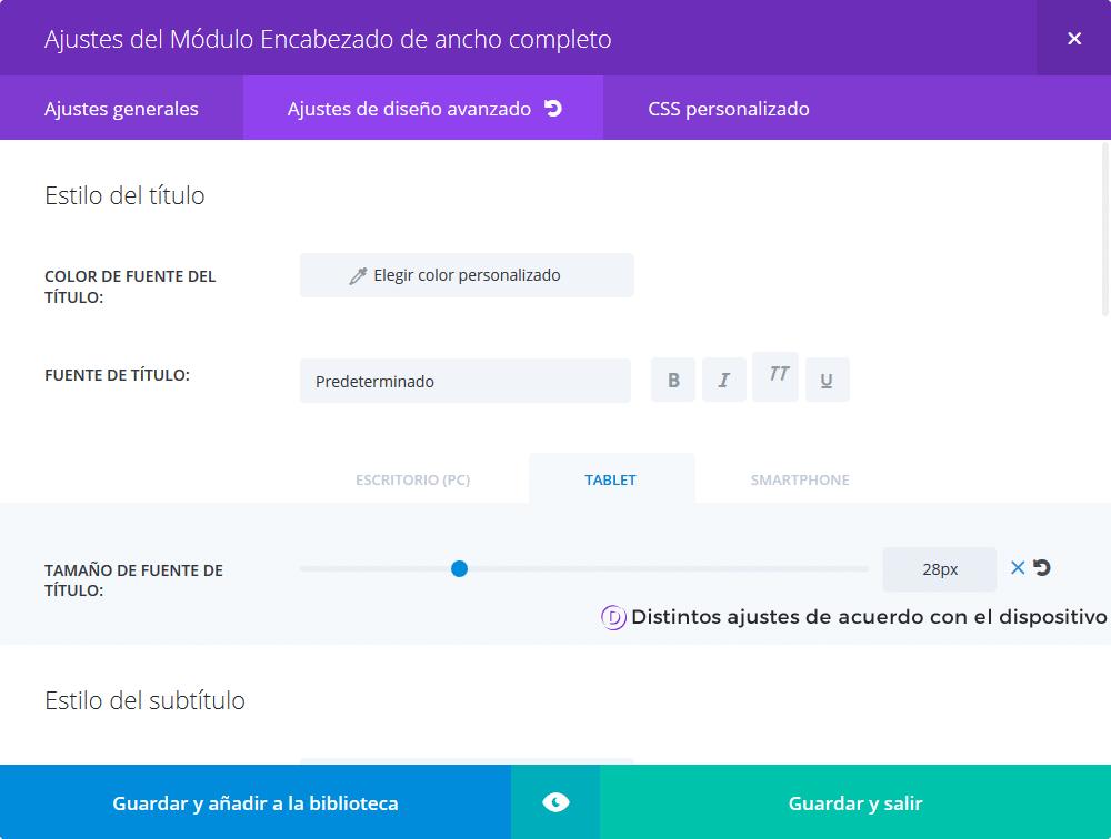 Divi - Opciones para distintos dispositivos