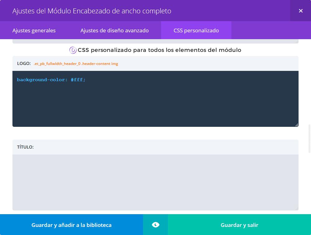 Divi 2.6 - Más opciones de CSS personalizado