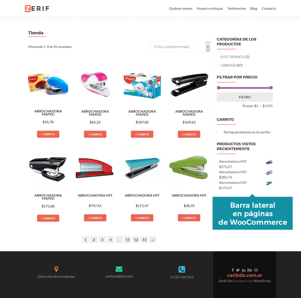 Zerif Lite - WooCommerce con barra lateral