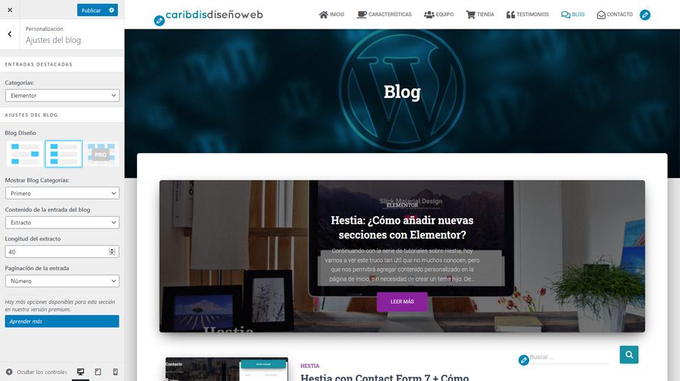 Hestia - Ajustes del Blog