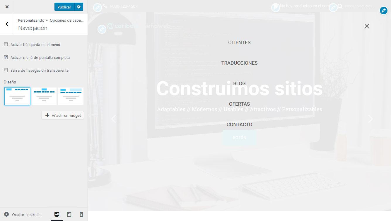 Hestia Pro - Menú en pantalla completa