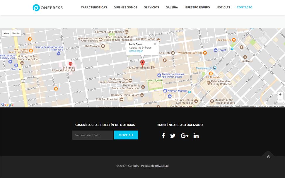 """OnePress - Mapa en sección """"Contacto"""""""