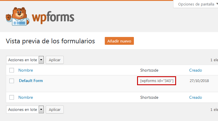 WPForms - Copiar shortcode