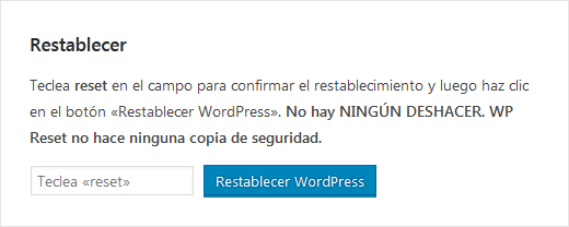 Restablecer WordPress