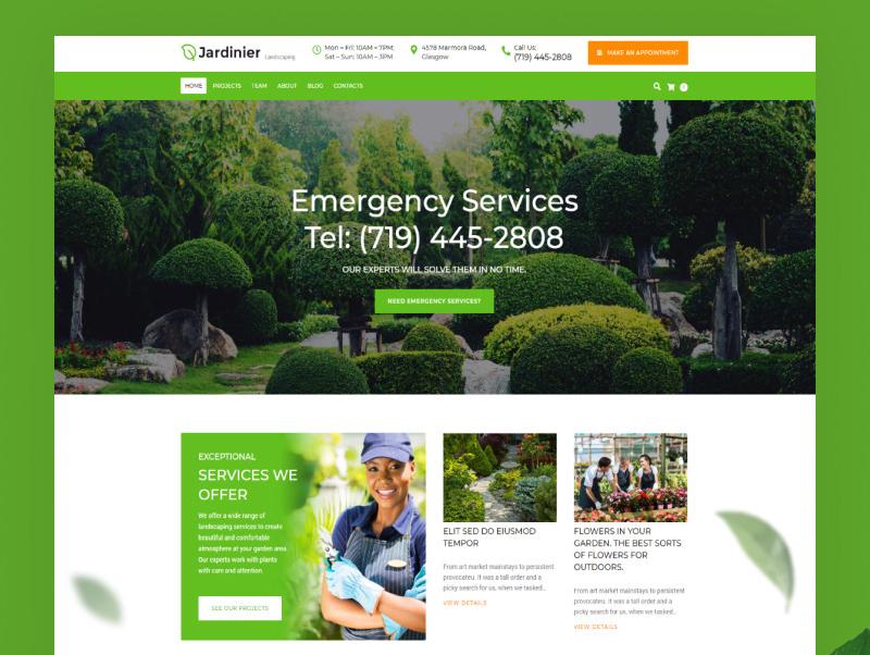 Tema De WordPress Jardinier - Tema WordPress para sitio de servicios de paisajismo