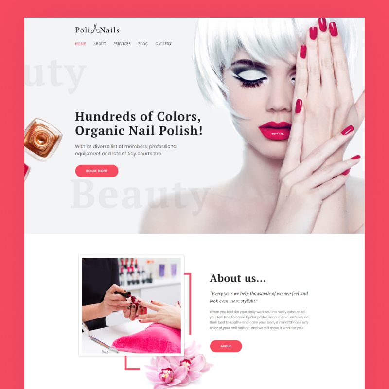 Tema De WordPress Poli Nails - Nail Salon with Great Widgets and Elementor