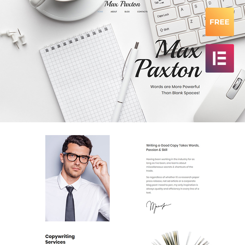 Tema De WordPress Max Paxton Lite - Tema WordPress Gratis
