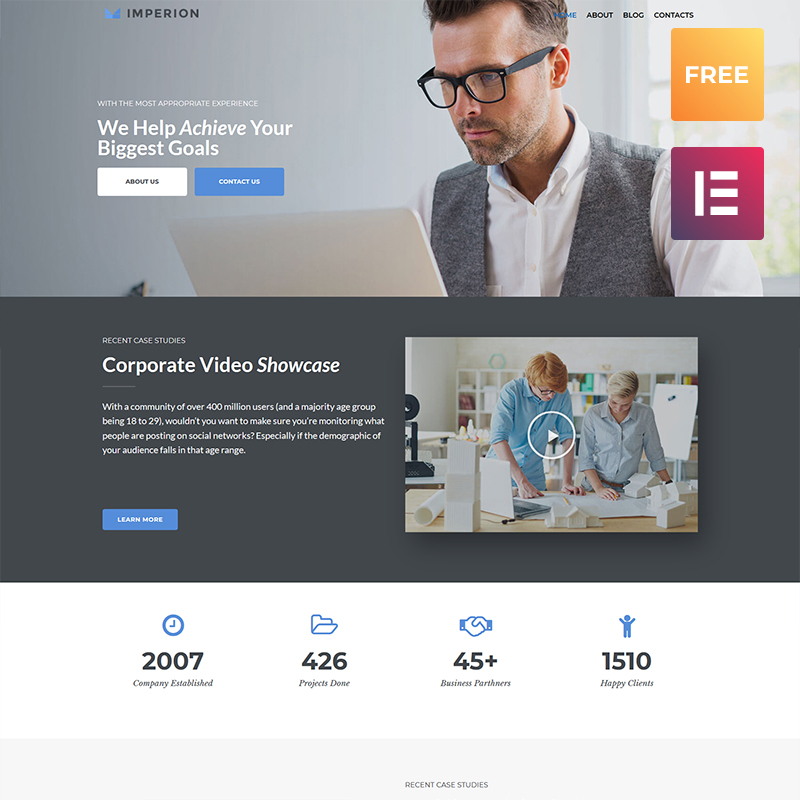 Tema De WordPress Imperion Free - Multipurpose Corporate Elementor