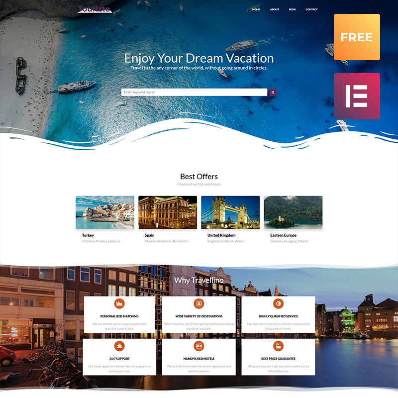 Tema De WordPress Tourizto lite - Travel Company Elementor
