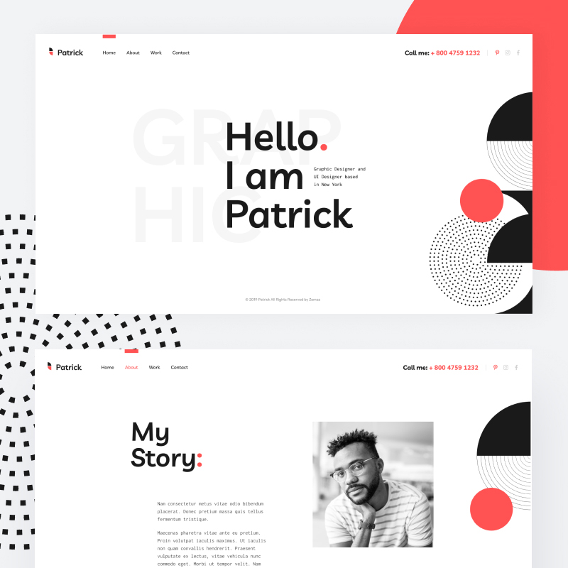 Tema De WordPress Patrick - Designer Portfolio Website for Personal Promotion